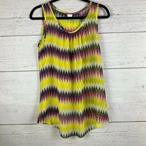 Body Central Sheer Tank Top Ombre Large Open Back